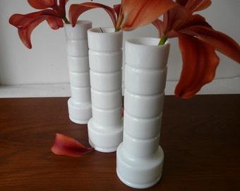 vintage milk glass bud vases, cylindrical, MCM, set of FIVE