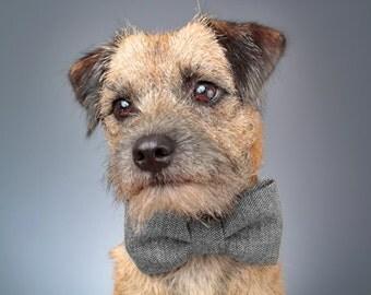 Dog Bow Tie - Black & Grey Herringbone Tweed