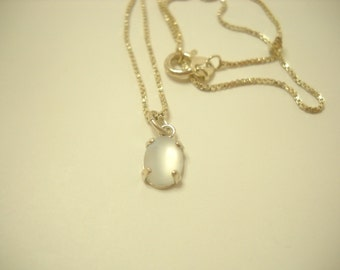"STERLING 16"" CHAIN (1545) ITALY.....Frosted Pendant"