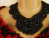 Midnight Black Bead Embroidered Necklace