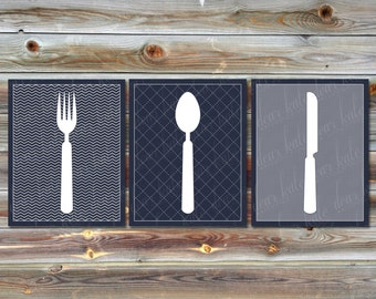 Custom Set of 3 Kitchen Prints- Navy/White Fork, Knife & Spoon