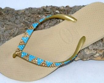 Custom Crystal Havaianas Slim flat Flip Flops Gold Sand Gray Khaki Tan w/ Vintage Turquoise Blue Jewels Swarovski Bling Beach Sandals Shoes