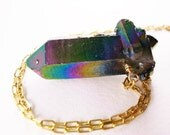 Peacock Blue Titanium Quartz Point Necklace- Layering Necklace, Quartz Point Necklaces