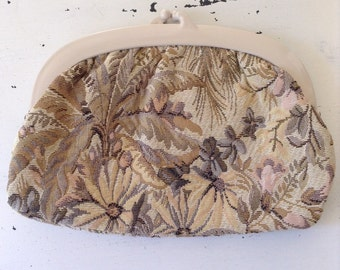 vintage. CLUTCH. purse. TAPESTRY. pastels. ITALY. 1980s