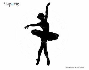 Ballet Silhouette - Pose Two - applique PDF template - applique pattern design