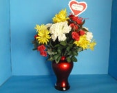 Flower Arrangement, Lovely Bouquet of Red Roses, White Carnations and Wild Yellow Daises in a Crimson Red Glass Vase