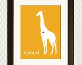 Personalized Nursery Print - Room / Wall Decor for a  Boy or Girl - Giraffe Silhouette, choose the name and background color - Mothers Day