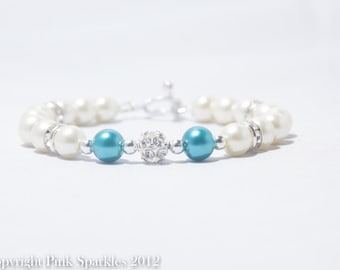 Teal and Ivory Pearl Rhinestone Bracelet, Bridal Jewellery, Wedding Jewellery
