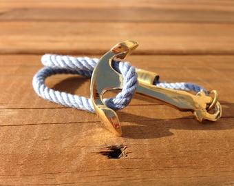 Rope Brass Anchor Bracelet - Carolina Blue