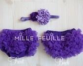 Ruffle Bloomers - Purple -  FRONT & BACK chiffon ruffles and Flower Headband with crystal for newborn purple chevron flower
