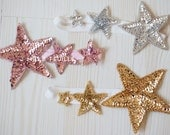 triple star sequin headband - your choice of color pink, silver or gold for baby, little girl or adult