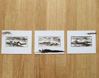 colorado mountains wood block print set // fraser valley series