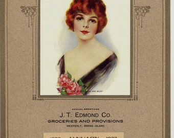 1923 JANUARY Calendar Page with Art Deco Frame & Deco Girl  Her Eyes So Beautiful and Blue  J. T. Edmond Company Westerly, Rhode Island