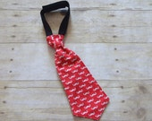 Mustache Geekly Chic with Red and White Baby Necktie  Fits  6 Months to 3 Years