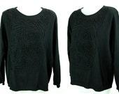 Vintage -AVANT GARDE- wool Italian Black Sweater / Jumper  44 L