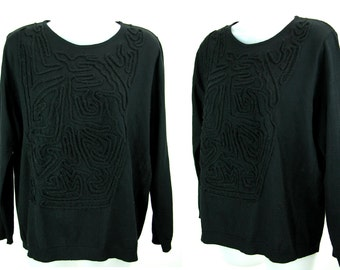 Vintage -AVANT GARDE- wool Italian Black Sweater / Jumper  44 L