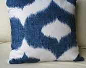 RESERVED FOR HLEBEAR! Pair of Duralee Dalesford Blue & white cotton Ikat pillow covers for a 18x18  Pillows