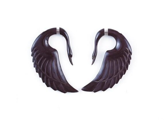 "Fake Gauge Earrings - Organic Tribal Earrings - Horn Earrings Fake Piercing - Buffalo Horn ""Swan Wings"" Earrings - SUPER SALE"