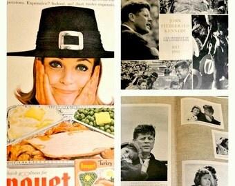 Mid Century Advertising Ephemera, JFK Memorial Issue 1964, Look Magazine, Scrapbooking Paper Crafts