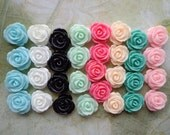 Resin Rose Flower--40pcs(8 colors) 14 mm Rose Flowers Cabochons Cameo Base Setting
