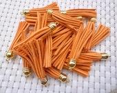 20 Pieces 60mm Orange Suede Leather Tassel With Gold Color Plastic Cap