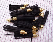 20 Pieces 60mm Black  Suede Leather Tassel With Gold Color Plastic Cap