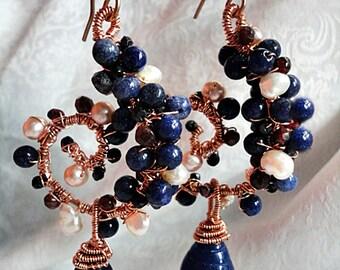 Sapphire Dangle Earrings, Blue Sapphire Earrings, September Birthstone, Sapphire Wrapped Earrings, South Sea Pearl Earrings