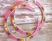 Pink Sunburst Beaded Hoop Earrings - Native American Crafted