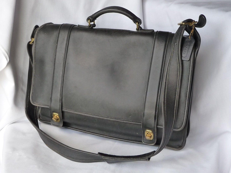 Vintage Coach Essex Briefcase Laptop Bag In Black Leather