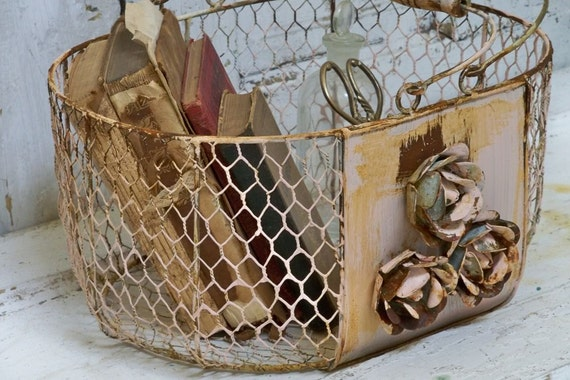 metal wire basket pink rusty shabby chic cottage chain link