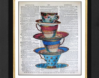 "Stacked Tea Cups ""Cup of Tea"" Vintage tea Cups Mixed Media art print on 8x10 Vintage Dictionary page,Dictionary Art, Dictionary print"
