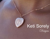 Heart Locket With Hand Engraved Monogram Initials - (Order your Initials) - Yellow or Rose Gold Overlay