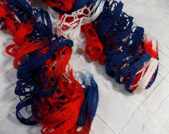 Lace Ruffle Scarf - Red White and Blue - Patriotic - Americana - Fun - beautiful (SC17)