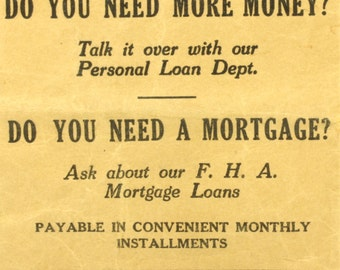 The First National Bank F.H.A. Personal Loan Promotion Kit - Steel Ball Bearing Loan Envelope
