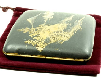 Wonderfully Asian Matt Black and Gold Leaf Engraved Antique Cigarette Case - Business Card Currency Case