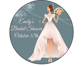 Personalized Modern Bride Bridal Shower Sticker - envelope seal, bridal shower decoration, bridal shower favor, invitation seal