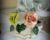 Cheerful Shabby Metal Roses and Ribbons Wall Hanging Pair