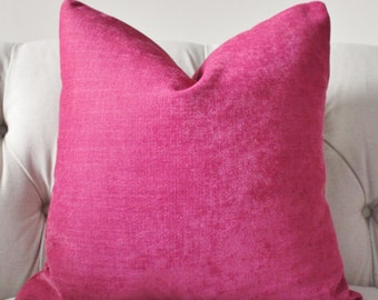 Dark Pink Pillow - Raspberry  Pillow Cover - Designer Magenta Pillow Cover - Solid Pink Pillow - Pink Throw Pillow