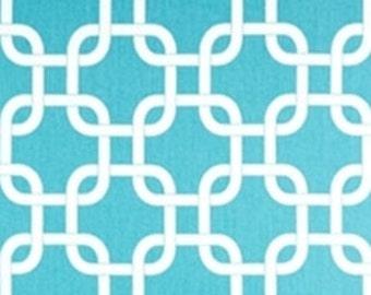 """Aqua Blue & White Gotcha Fabric Remnant 10"""" x 14"""""""