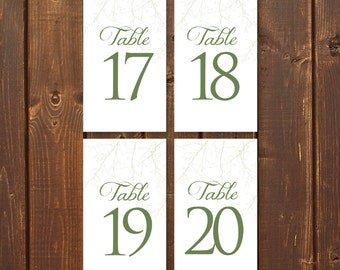 Nature, Printable Wedding Table Numbers, 1-20, Instant Download