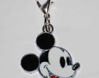 Disney Vintage version Mickey Mouse Head Enamel Clip Charm, zipper pull, backpack, cell phone, purse clip, bracelet, necklace, scrapbooking