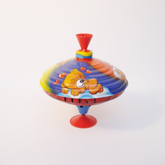 Retro Top Toys : Vintage metal spinning top toy