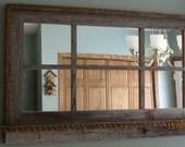 Barnwood Window Mirror with Shelf