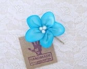 Aqua Blue Flower Hair Pin. Aqua Blue Flower Hair Accessory. Bridesmaid Flower Hair Piece.