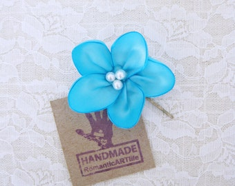 Aqua Blue Flower Hair Pin. Aqua Blue Flower Hair Accessory. Bridesmaid Flower Hair Piece.