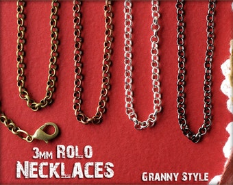 NEW 30 Inch 20 Pieces Rolo Chain Necklace Chain with Lobster Clasp for Jewelry Craft