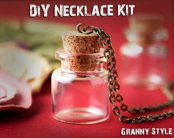 1 DiY Kits - Glass Vial Pendant Kit includes 1 Glass Vile 25mm Tall, Cork Top, Necklace, Eye Screw Loop, Jump Ring - Clear Glass Bottles