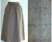 Vintage PLAID FELTED WOOL Midi Skirt/ size XSmall