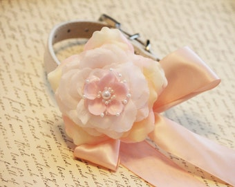 Pink Floral wedding dog collar, Pink flower with Peals, Wedding dog accessory