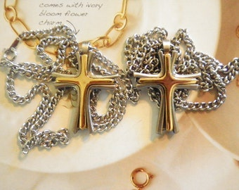 """2 Siilverplated Crosses on 18"""" Necklace"""